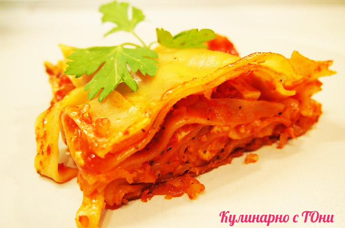 Веган лазаня с тофу и доматен сос