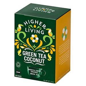 Био зелен чай с кокос 40гр., Higher Living