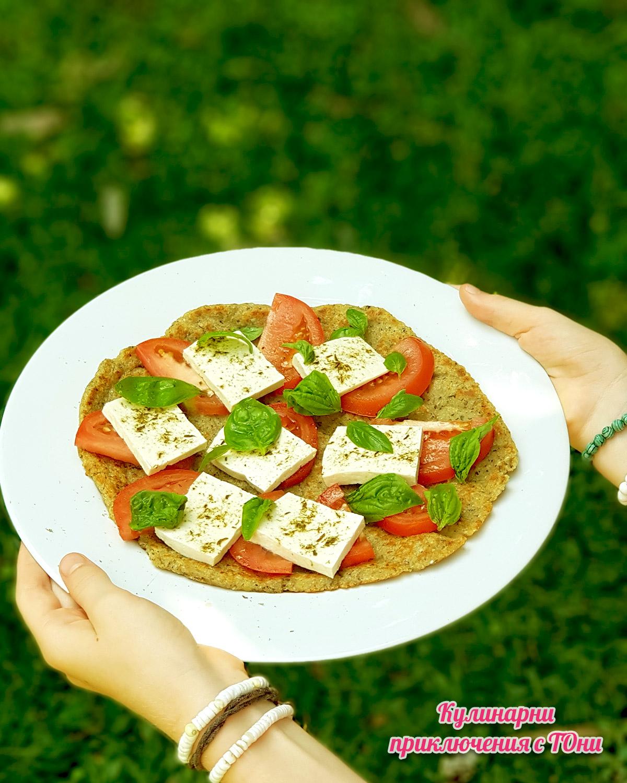 Безглутенова пица от картофи и елда на тиган